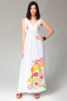 Длинное летнее платье с цветочным принтом на подоле VIAGGIO со скидкой