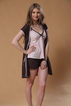 Комплект тройка: топ, шорты и халат на завязках FIORITA