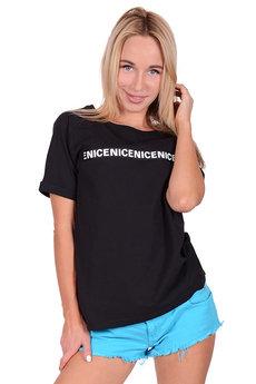 Черная женская футболка с надписями Трикотажница